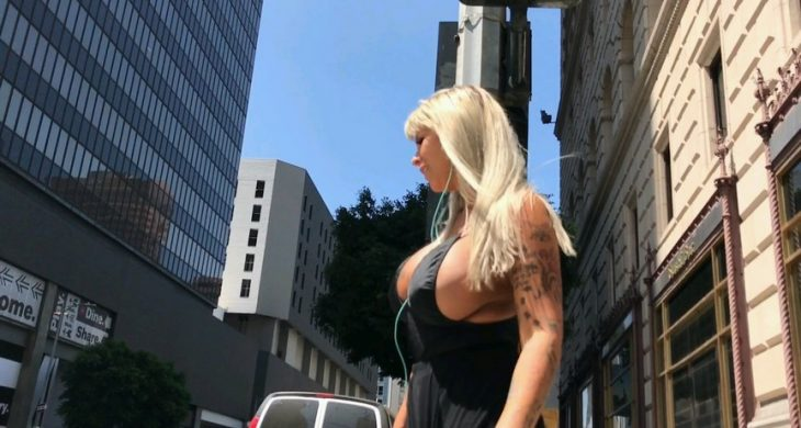 Sexy Big Boobs Blonde in the Street