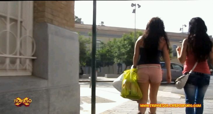 Traviesox Shooter Two Girls in Sexy Short Walking