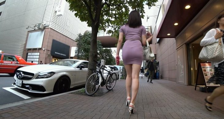 Amazing Asian Girl walking with Mini Sexy Dress