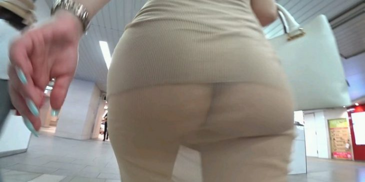 Asian Sexy Girl with Transparent Dress Booty