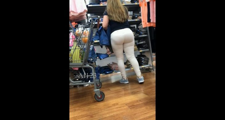 Sexy Blonde Big Booty Shoping in Market