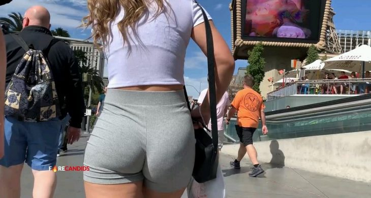 Sexy Booty Wrapped in Thin Grey Short FireCandids