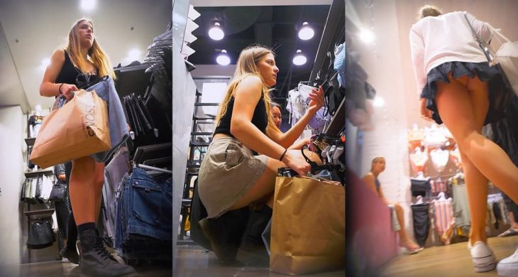 Two Girls Upskirted Bending Over While Shopping