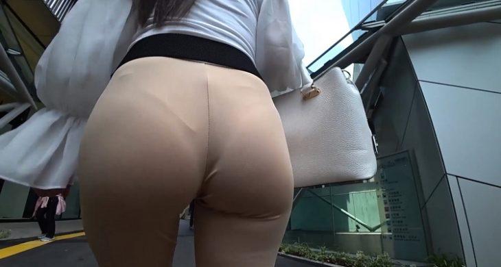 Asian JAV Sexy Transparent Thong Walking