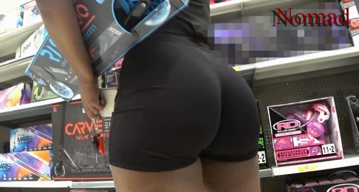 Sexy Brunette Big Booty in Short Shopping